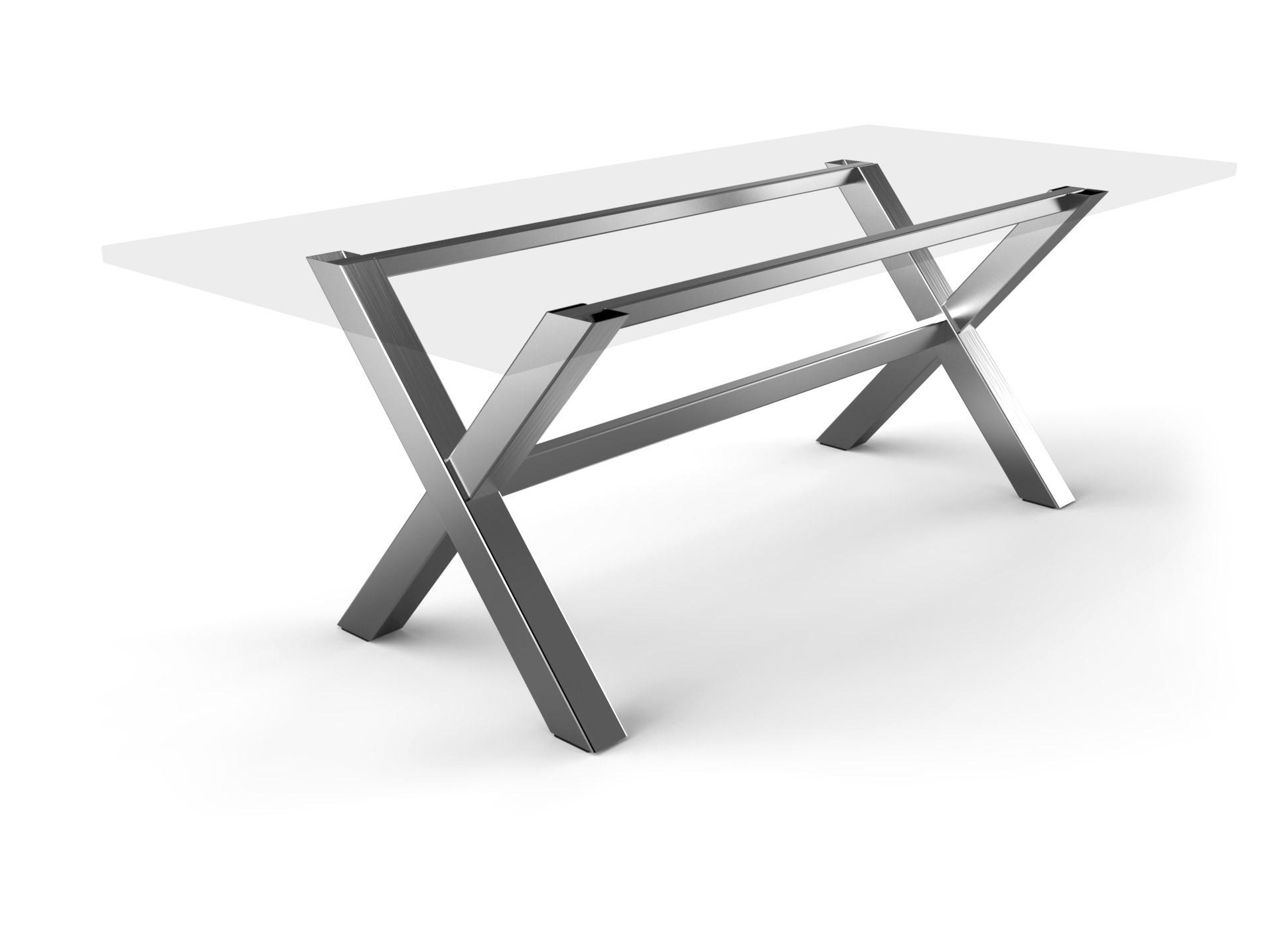 Tischgestell Kreuzfuß Edelstahl