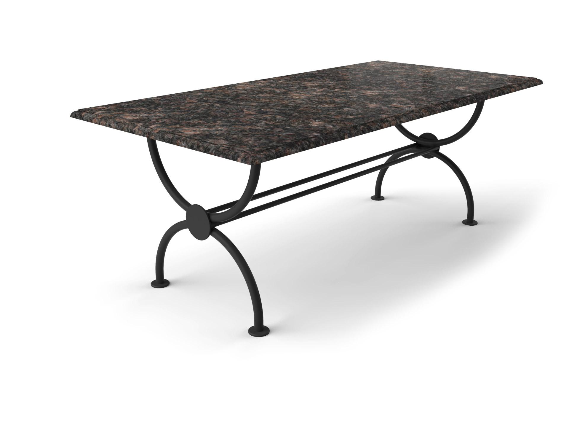 Granit Gartentisch mit elegantem Rondo Tischgestell