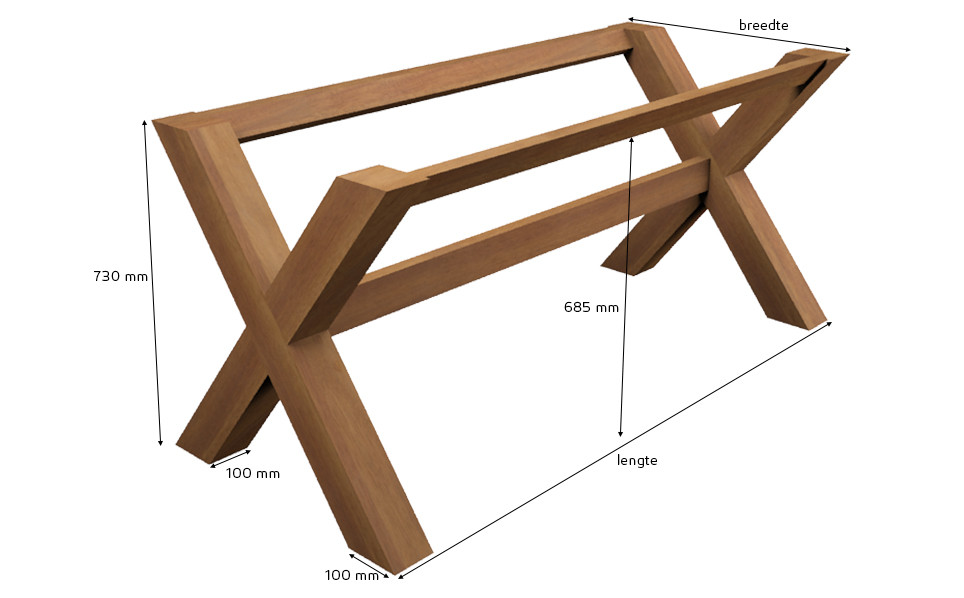 tischgestell kreuzfu guariuba holz. Black Bedroom Furniture Sets. Home Design Ideas