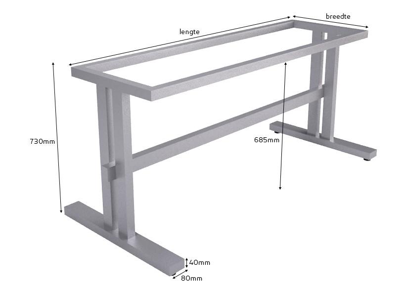 Afmetingen Tischgestell Trento Edelstahl