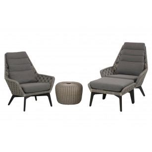 Savoy loungestoelen set 4-delig met hocker