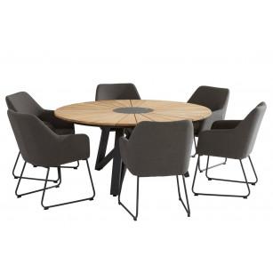 Global dining table set met Amora dining stoelen