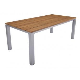 Schwebende Tischplatte aus Holz mit Edelstahlrahmen