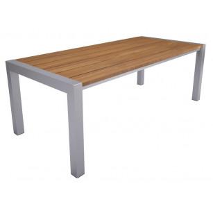 Holztisch mit Edelstahlgestell