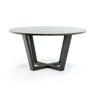 Runder Gartentisch aus Granit mit Stahlgestell