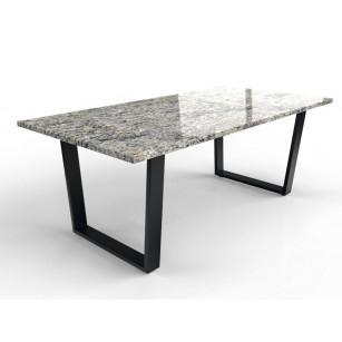 Rechteckige Granittischplatte mit modern beschichtetem Tischfuß