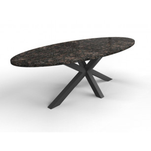Ovaler Natursteintisch mit Granitplatte und Matrixsockel