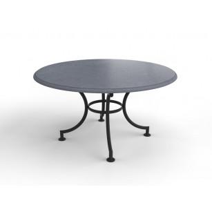 Belgischer Kalkstein Gartentisch mit runder Platte und Stahlgestell