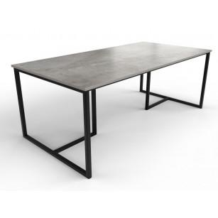 Esstisch in Betonoptik mit Dekton-Tischplatte und Tischgestell aus beschichtetem Stahl