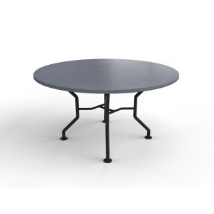 Runder belgischer Hartstein-Gartentisch mit Universalfuß aus Stahl