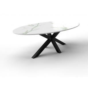 Ovaler Marmortisch aus Dekton mit Stahlgestell