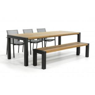 Moderner Gartentisch mit Bank und Elida Gartenstühle