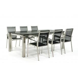 Granittisch mit Stühlen aus Edelstahl