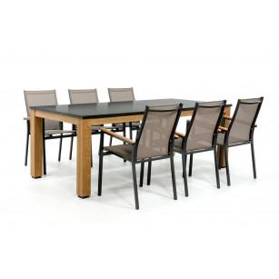 Granit Gartentisch mit Aluminium Stühlen