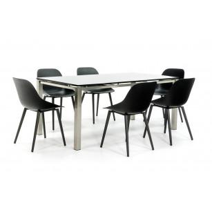 Gartentisch aus Edelstahl mit 6 modernen Stühlen
