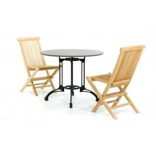 Granit-Bistro-Set mit Holzstühlen