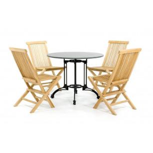 Granit-Bistro-Set mit 4 Holzstühlen