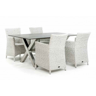 Dekton Gartentisch mit Edelstahlrahmen und Gartenstühlen