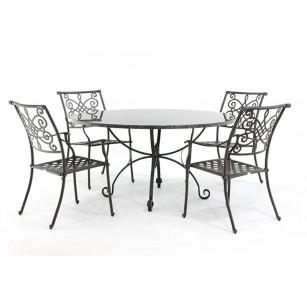 Steingartentisch mit runder Granitplatte und schmiedeeisernen Stühlen