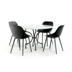Stahlfuß mit Tischplatte aus weißem Marmor