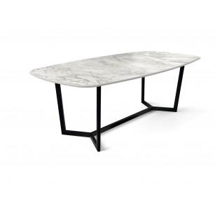 Dekton Tisch mit Portumplatte in Marmoroptik und moderner schwarzer Gestell