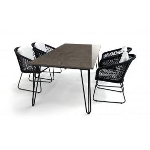 Dekton Gartentisch mit Haarnadel-Tischgestell im skandinavischen Design