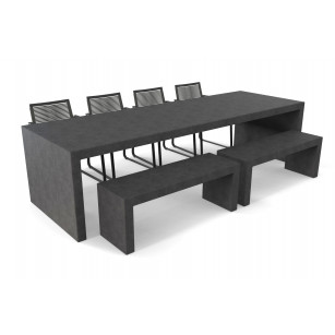 Antracieten Lars betonlook tuintafel met twee banken en stoelen