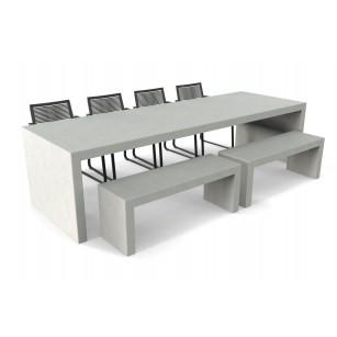 Lars betonlook tuintafel met twee banken en stoelen