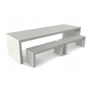 Betonlook tafel Lars met vier banken