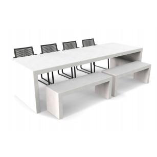 Witte Lars betonlook tuintafel met twee banken en stoelen