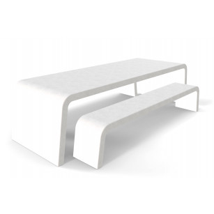 Witte Liv betonlook tuintafel met twee betonlook banken