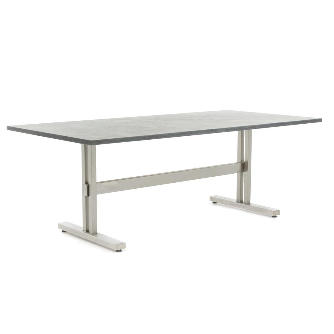 Edelstahl Tischgestell Trento mit Tropical Brown Granitplatte