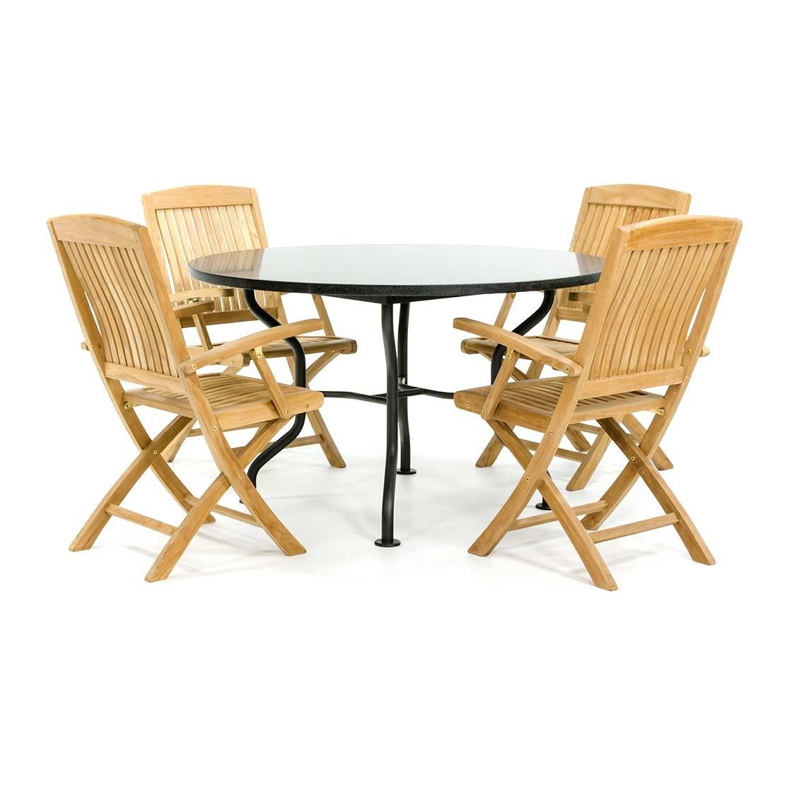 Runder Granit Gartentisch mit Klappstühlen aus Holz