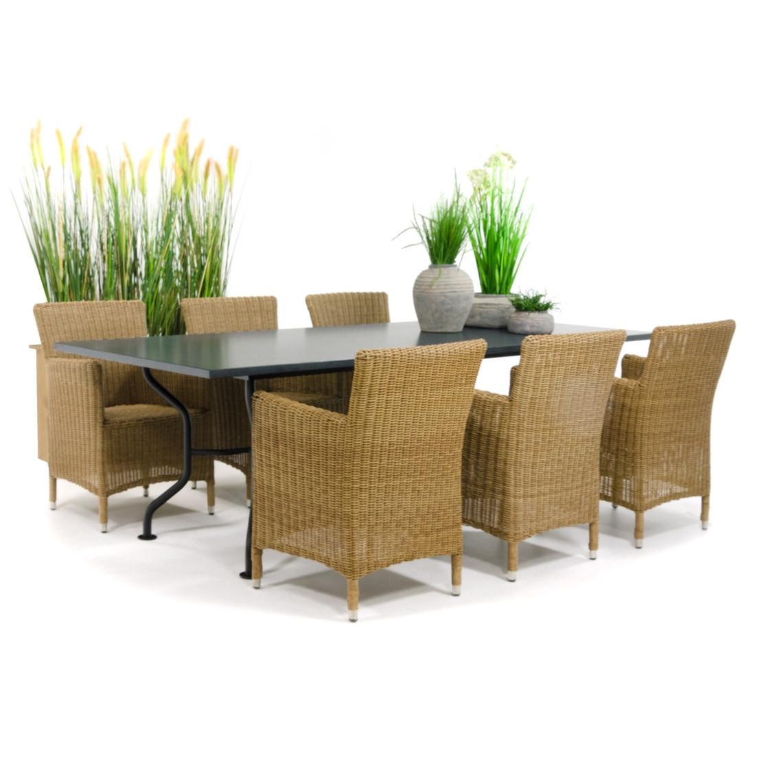 Naturstein Gartentisch aus Granit mit Stahlgestell