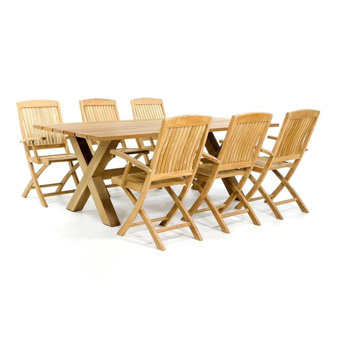 Kompletter Garten-Set aus Holz mit Kreuzfuß
