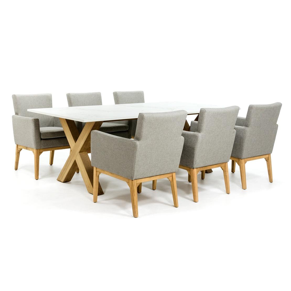 Dekton Tischplatte mit Holzkreuzfuß