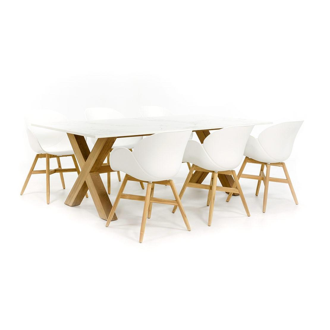 Dekton Tischset mit 6 trendigen Gartenstühlen