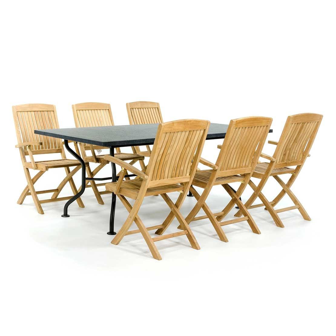 Basalt Gartentisch mit Prince Stühlen