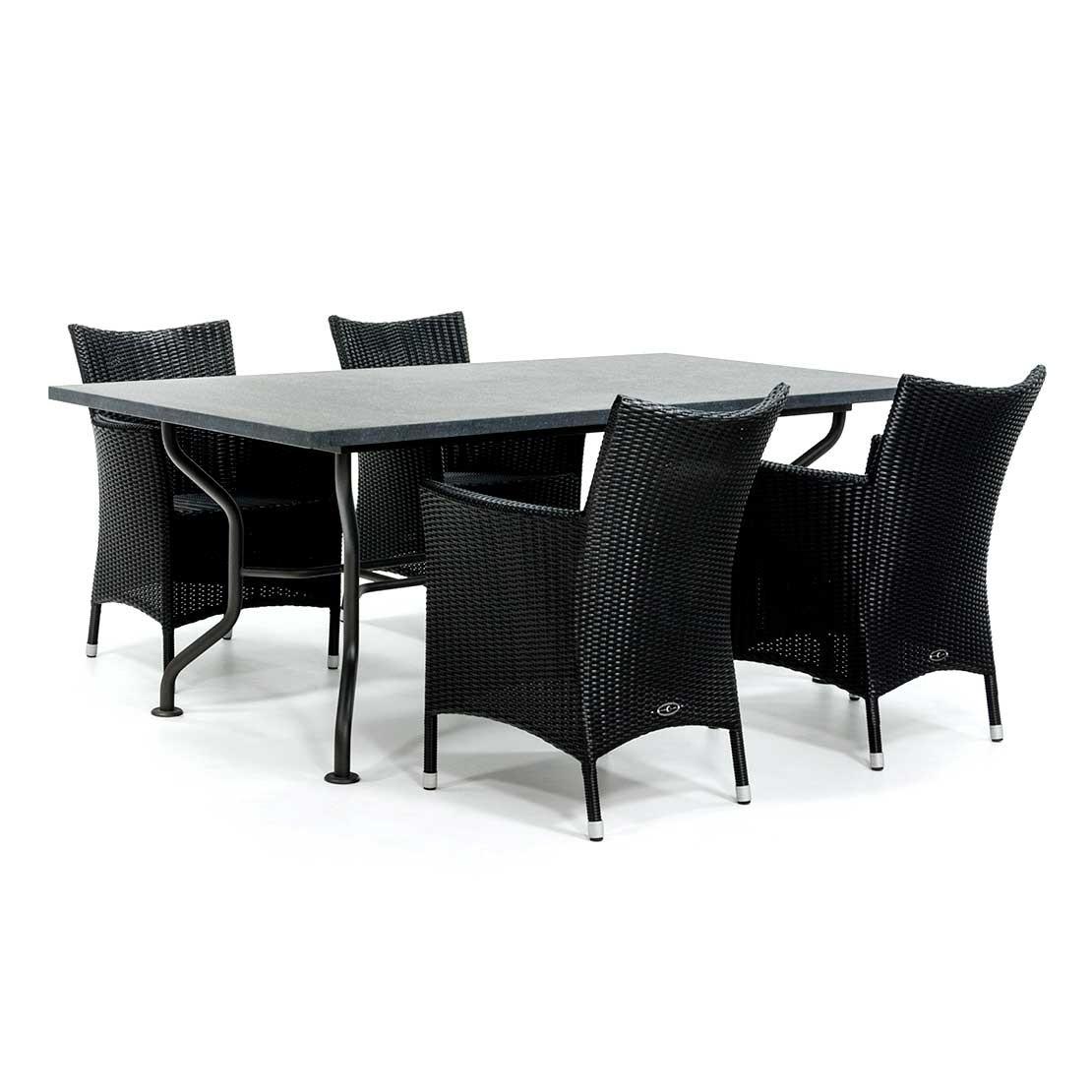 Basalt Tischplatte mit Stahlgestell
