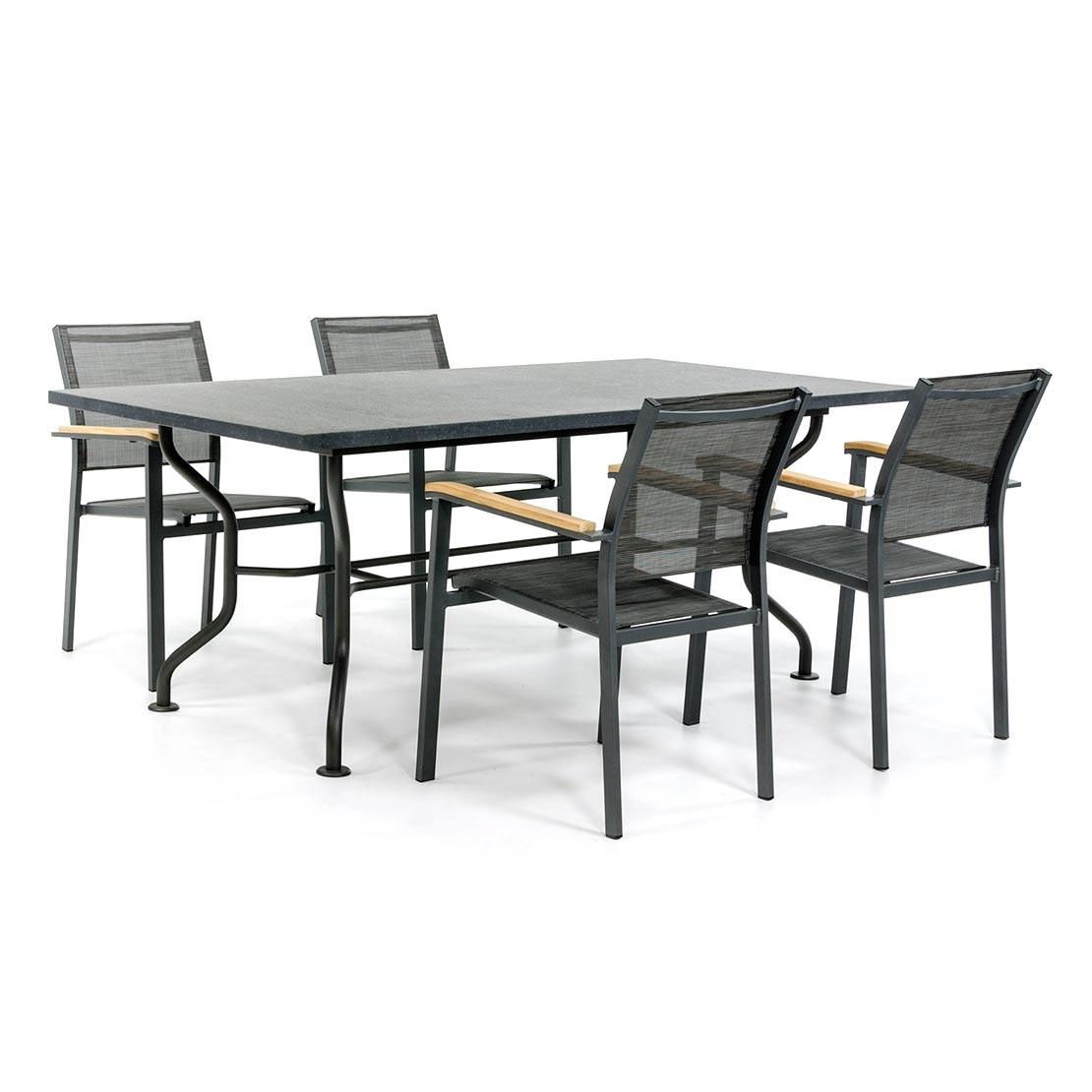 Basalt Gartentisch mit Textilene Stühlen