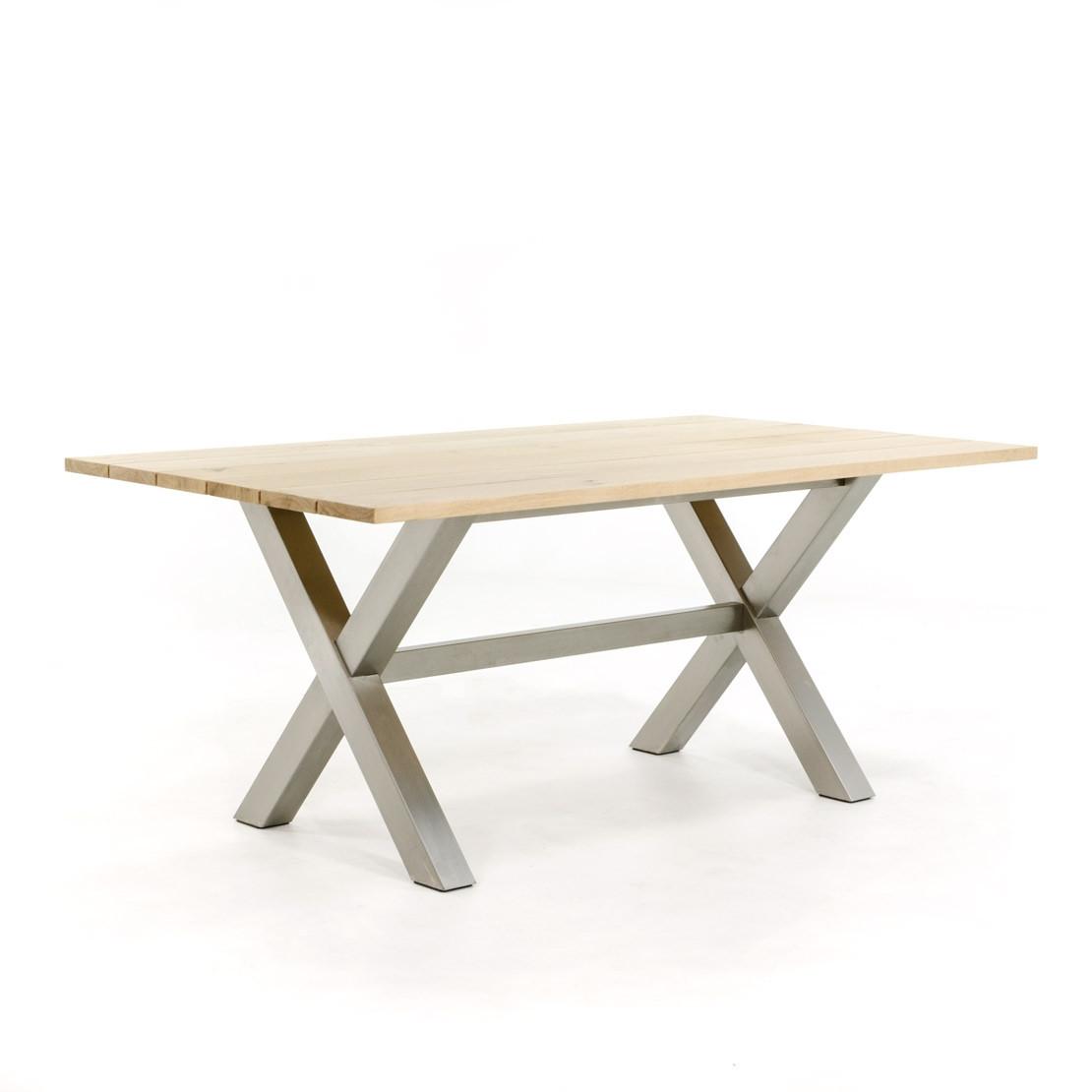 Eichengartentisch mit Edelstahl-Tischgestell