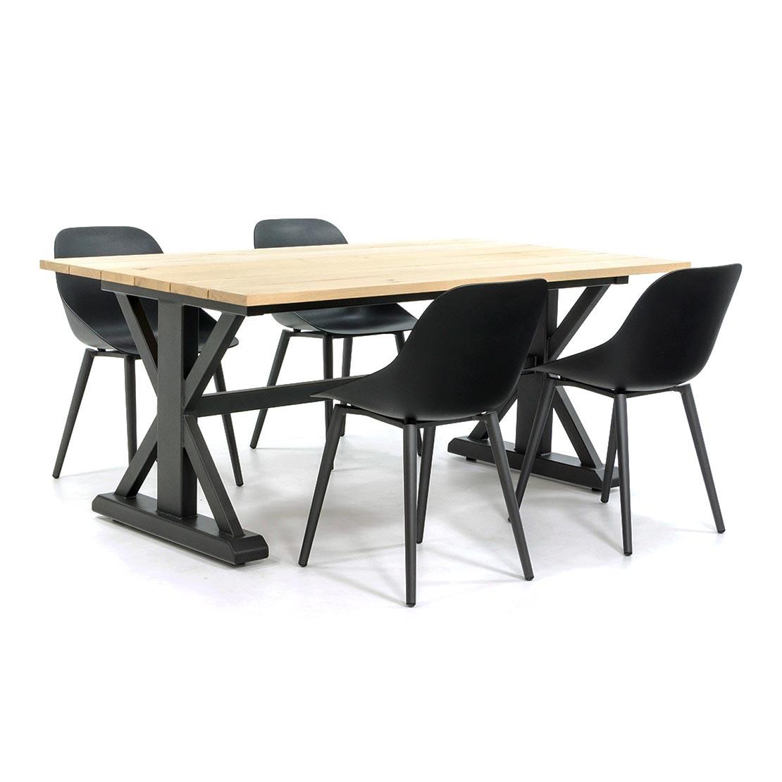 Robuster Gartentisch mit Stahlgestell und Eichenholzplatte