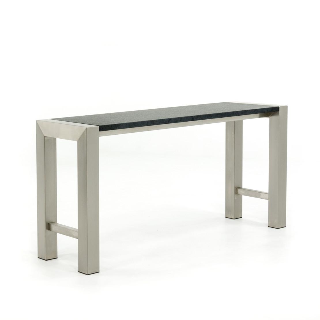 Wandtisch aus Edelstahl mit Basaltplatte (geflammt)