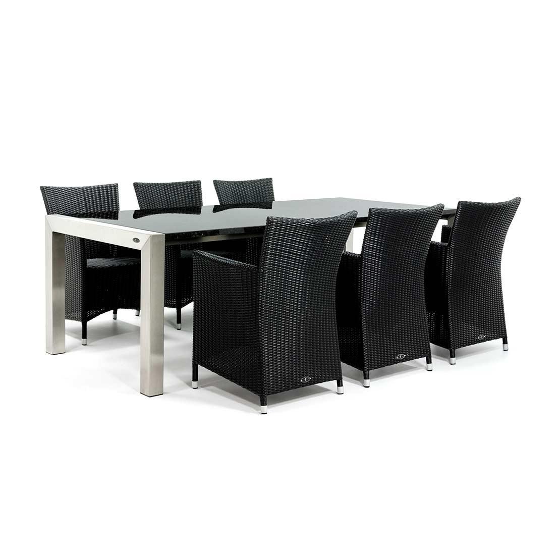 Moderner Gartentisch mit polierten Platten