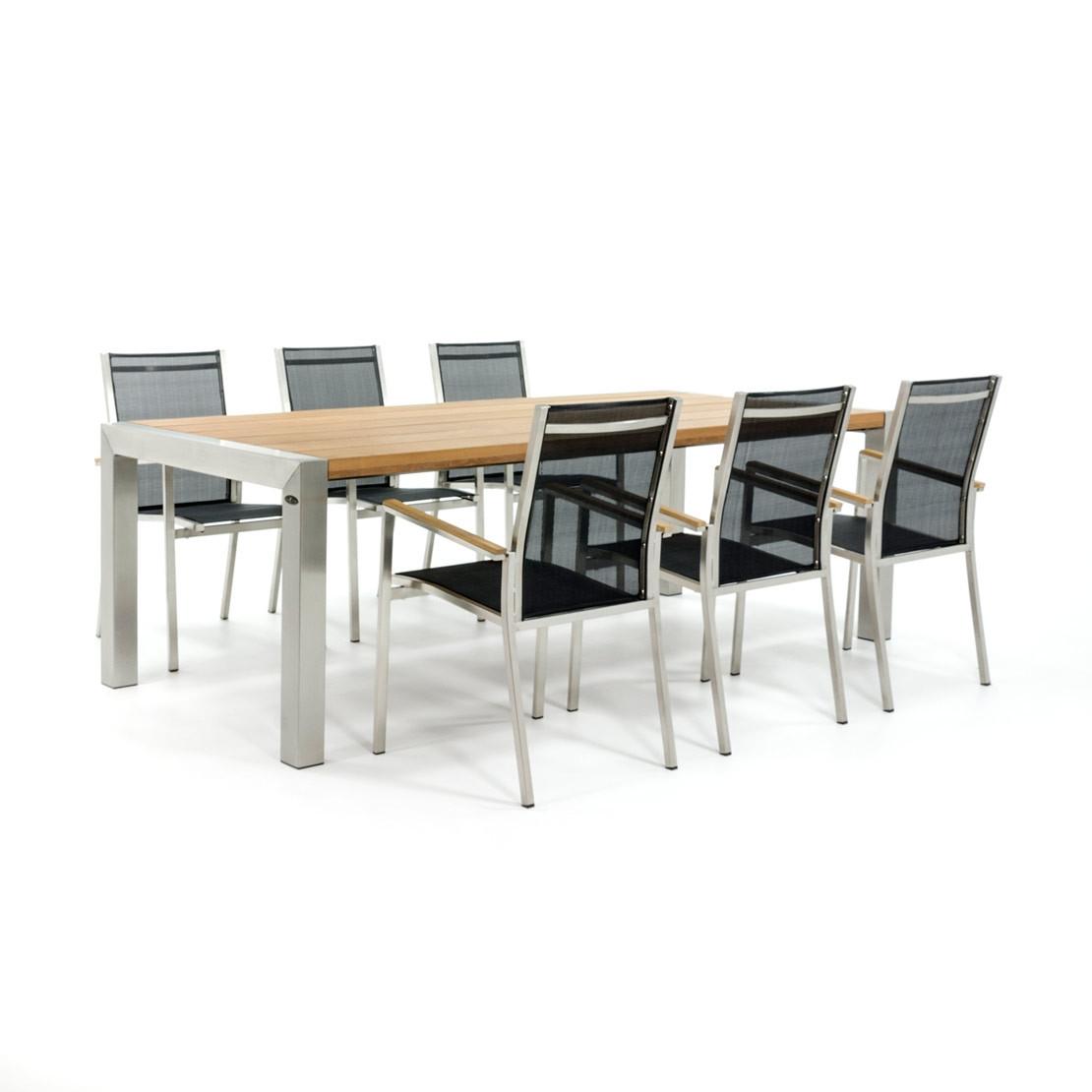 Tischplatte aus Holz mit Gestell und Stühlen aus Edelstahl
