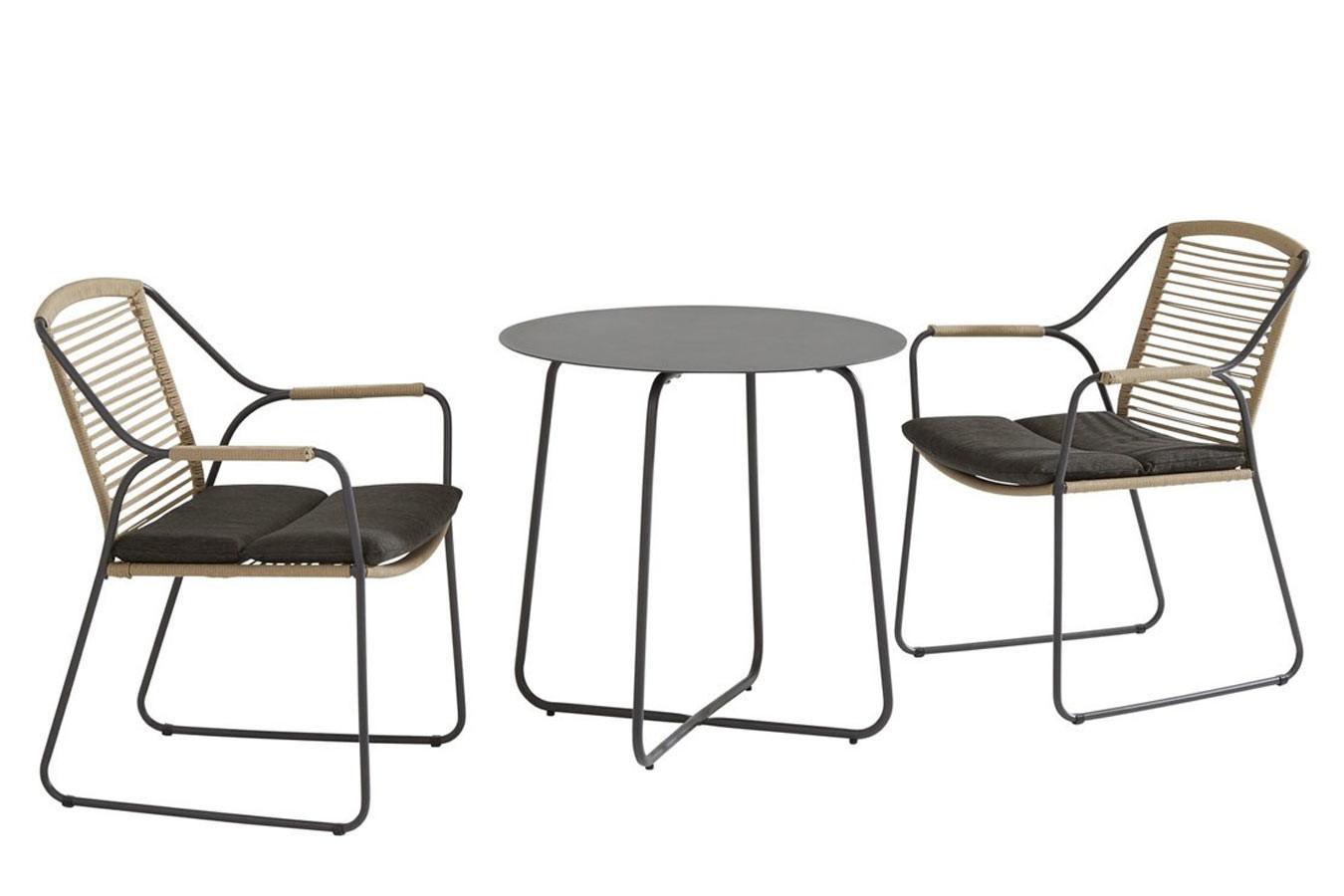 Dali anthracite bijzet tafel met 2 Scandic dining stoelen