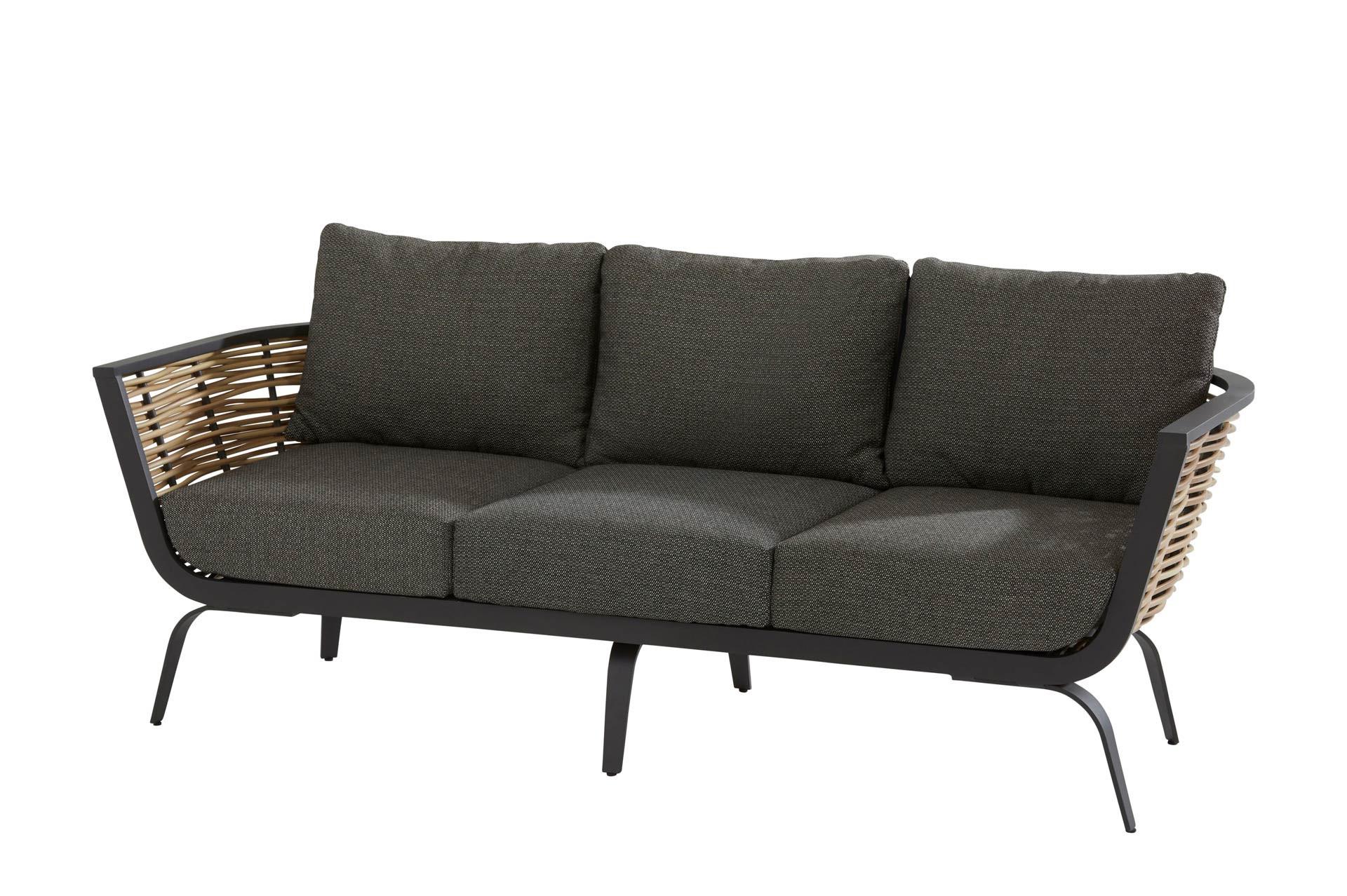 Antibes 3-Sitzer Bank 2 Arme mit 6 Kissen