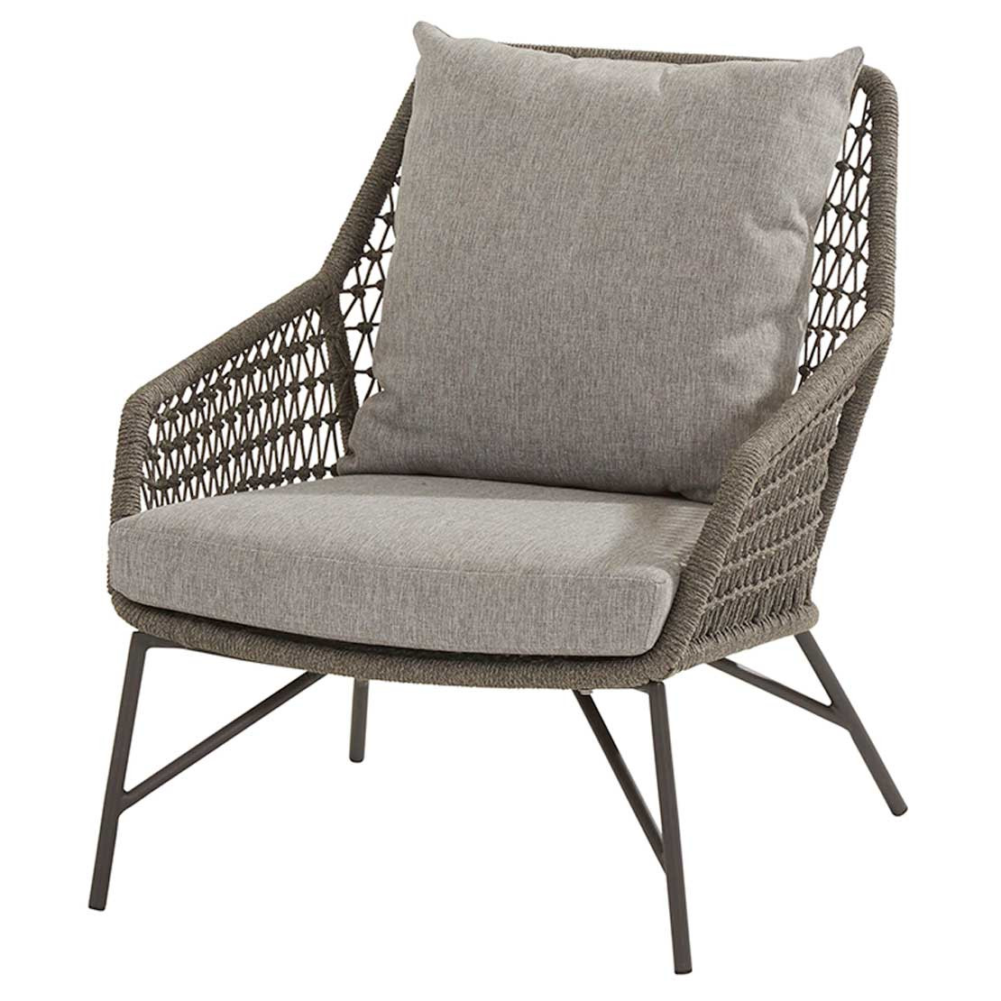 Babilonia living chair mid grey knotted with 2 cushions