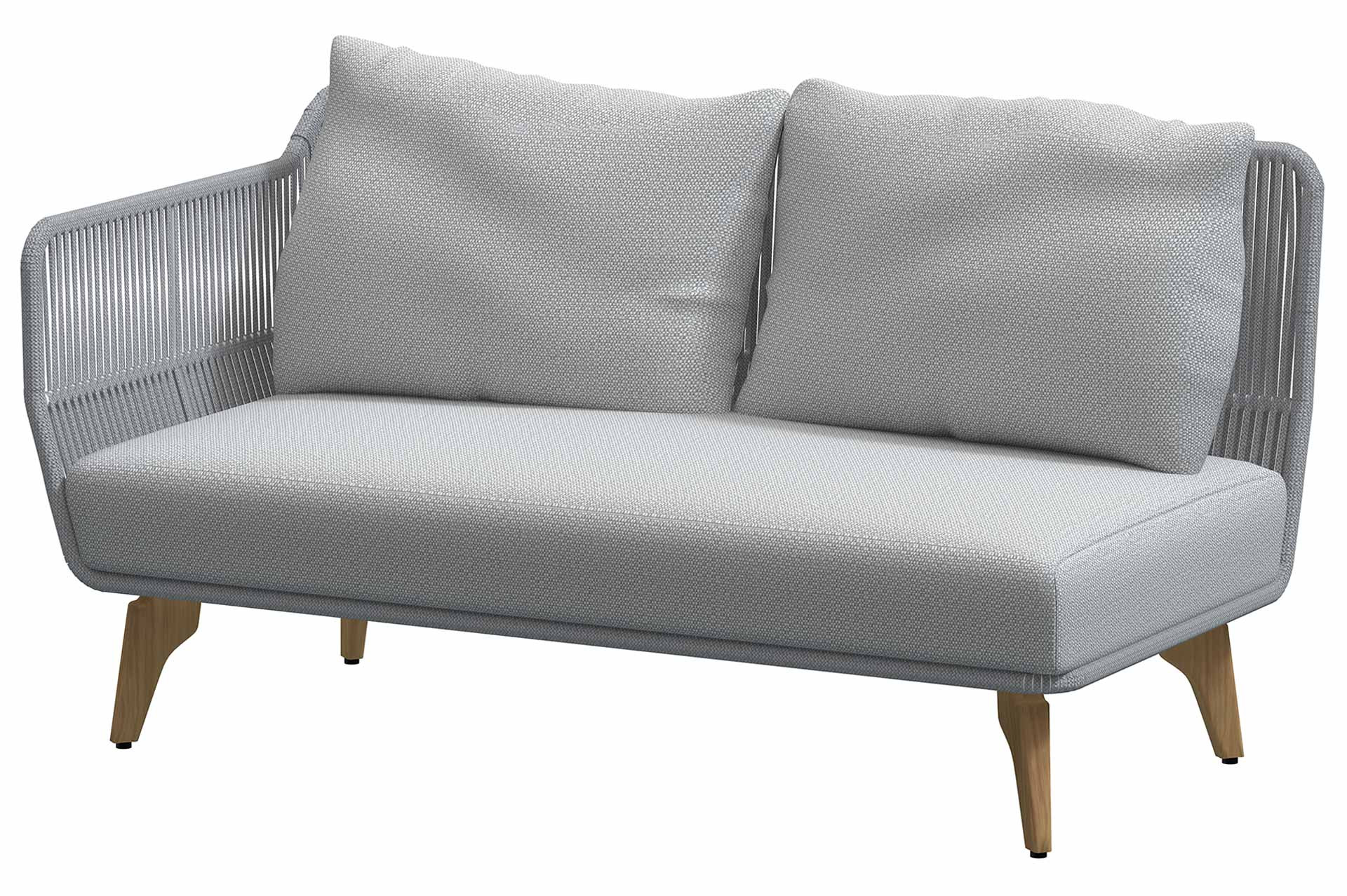 Raphael Modular Teak Frozen 2 seater right arm with 3 cushions