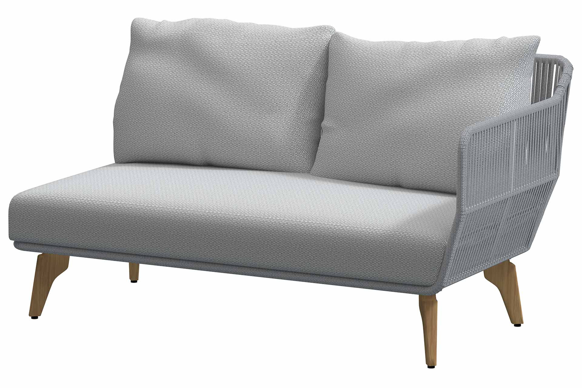 Raphael Modular Teak Frozen 2 seater left arm with 3 cushions
